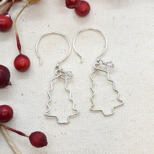 Christmas Tree Silver Earrings, Branches with Crystals