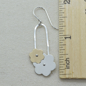 Trellis Silver and Gold Flower Earrings