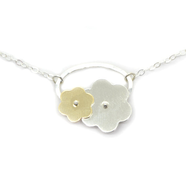 Trellis Silver and Gold Flower Necklace