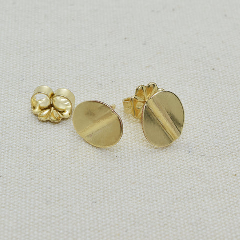 Truly Gold Post Earrings, Oval - Cloverleaf Jewelry