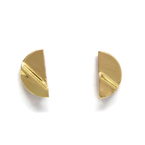 Truly Gold Post Earrings, SemiCircle - Cloverleaf Jewelry