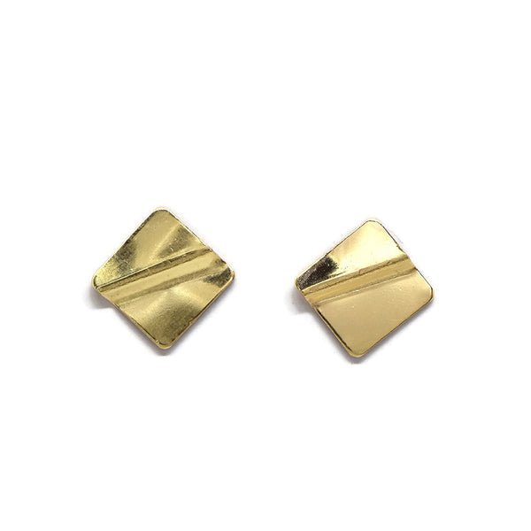 Truly Gold Post Earrings, Square - Cloverleaf Jewelry