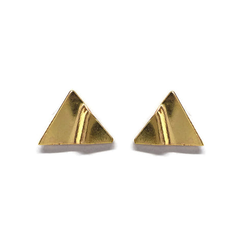 Truly Gold Post Earrings, Triangle - Cloverleaf Jewelry