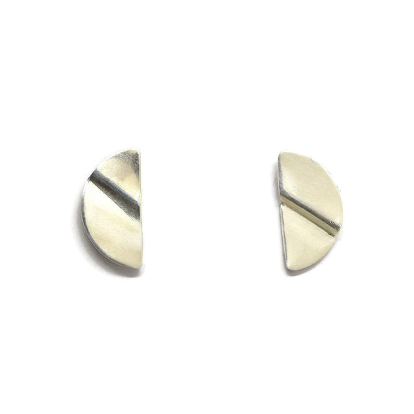 Truly Silver Post Earrings, Semicircle - Cloverleaf Jewelry