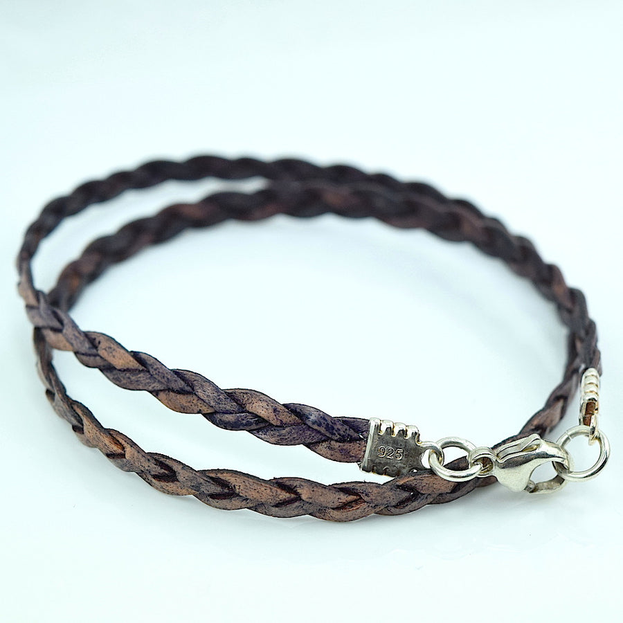 Leather Double Wrap Braided Bracelet