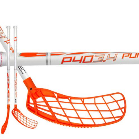 2017 P40 Floorball Stick - White with orange Blade