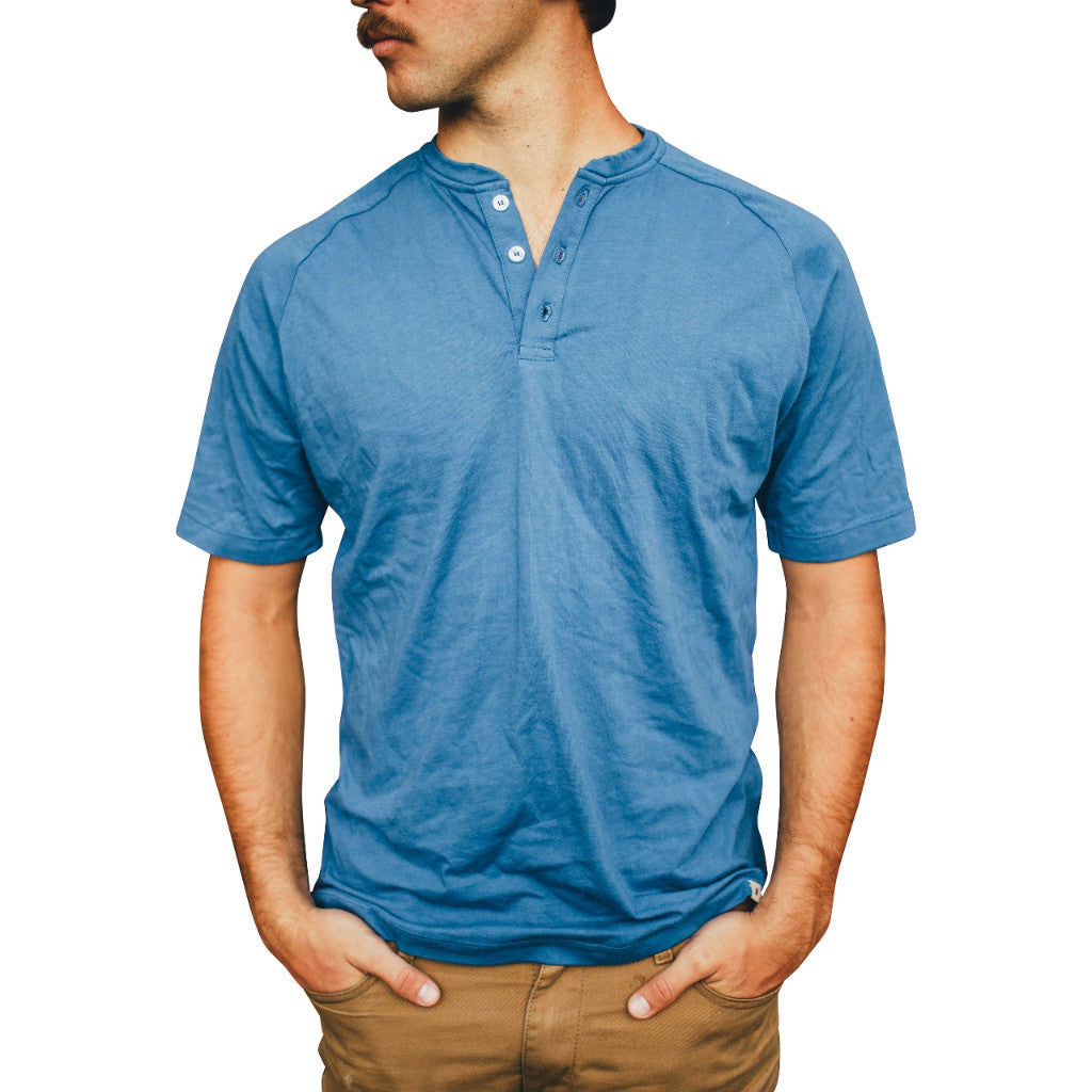 Supima Cotton Blue Short Sleeve Henley