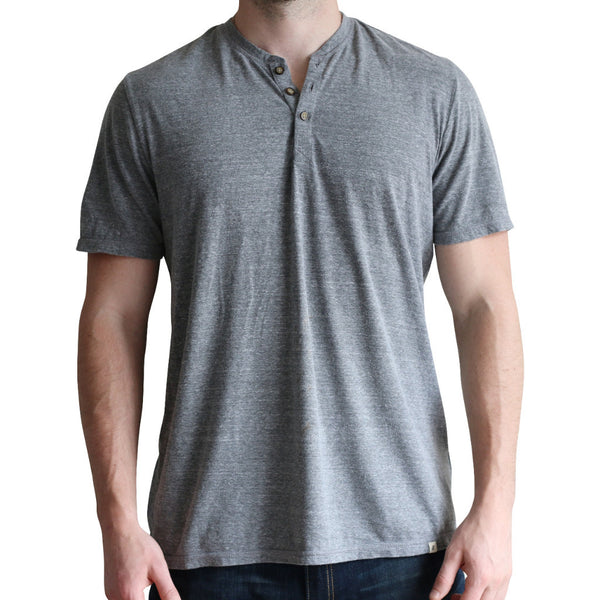 Tri-blend Heathered Grey Short Sleeve Henley
