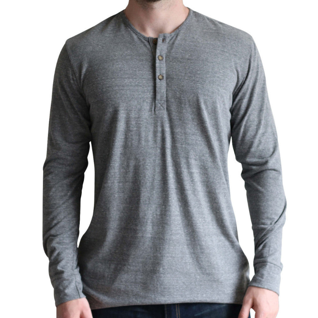 Tri-blend Heathered Grey Long Sleeve Henley