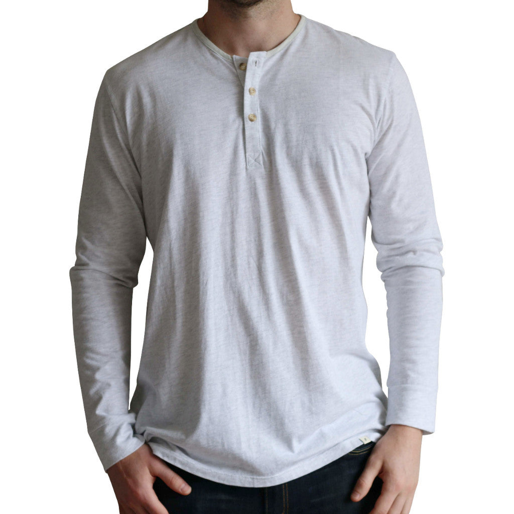 Tri-blend Heathered White Long Sleeve Henley