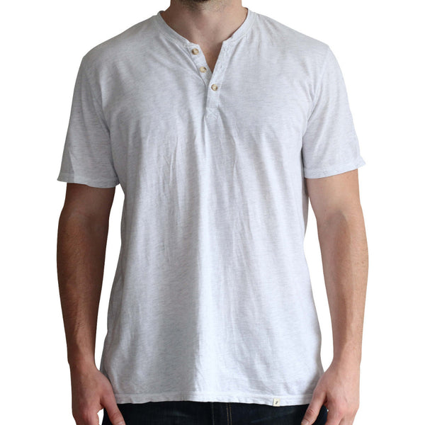 Tri-blend Heathered White Short Sleeve Henley