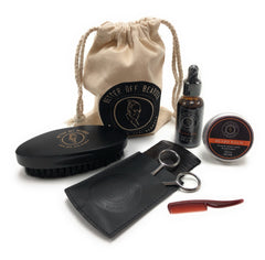 Grooming Kit For Men-Black Brush, Beard Oil, Balm, Trimming Scissors,(2)Combs Travel Storage Bag