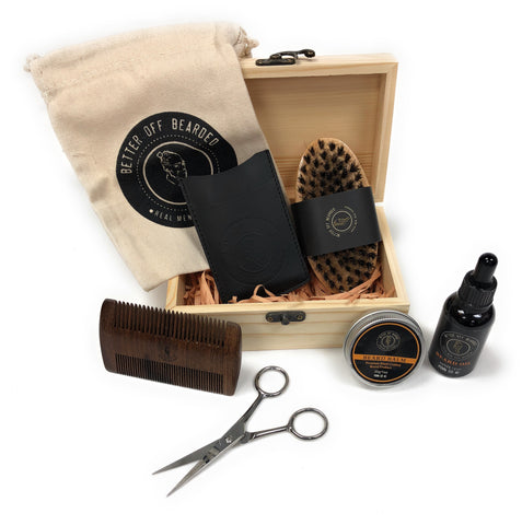 Premium Beard Grooming Gift Set-Beard Brush, Beard Balm, Oil, Comb, Scissor(BOB04)