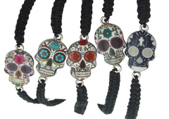 Hipfree Multi Color Skull Macrame Bracelet, Black Adjustable
