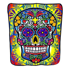Hipfree Day of the Dead Sugar Skull Plush Throw Blanket
