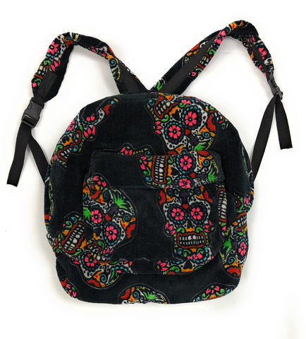 Hipfree Muilti Color All Over Sugar Skull Backpack, Black, Multi-Color