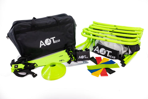 25-Pieces Agility Training Equipment - Speed Training Ladder - Running Parachute - Agility Hurdles and Cones - Resistance Bands - Indoor and Outdoor - Portable and Ergonomic Carry Bag Included