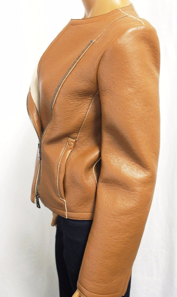Emporio Armani Leather Wool Zip Jacket Style #M2G07P Sz. 40 / US S NWT $1895