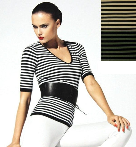 Wolford  #58132 Bold Stripes 3/4 Sleeve Shirt Velvet Mix Top  Myrtle Wheat Black