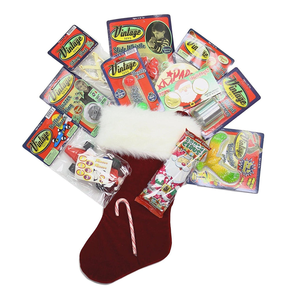Christmas Stocking Pre-filled with Vintage Toys Sling Shot Buzzer Ring Balancin Bird Slide Whistle Paddle Ball Balloon Racer Cars Jax & Candy for Boys 8 & up