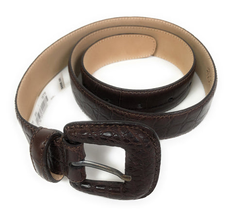 Brooks Brothers Women's Leather Genuine American Alligator Belt Brown S $698