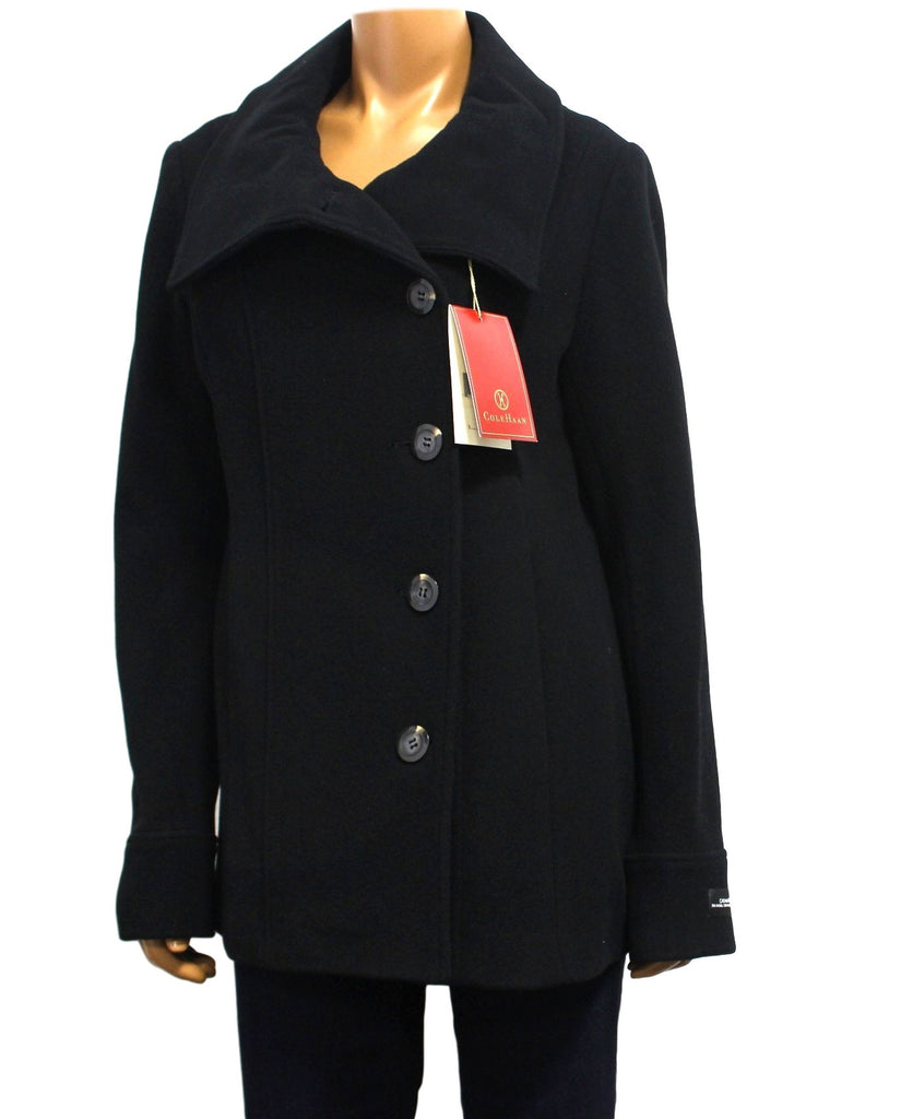 Womens Cole Haan Wool & Cashmere Blend Single-Breasted Peacoat