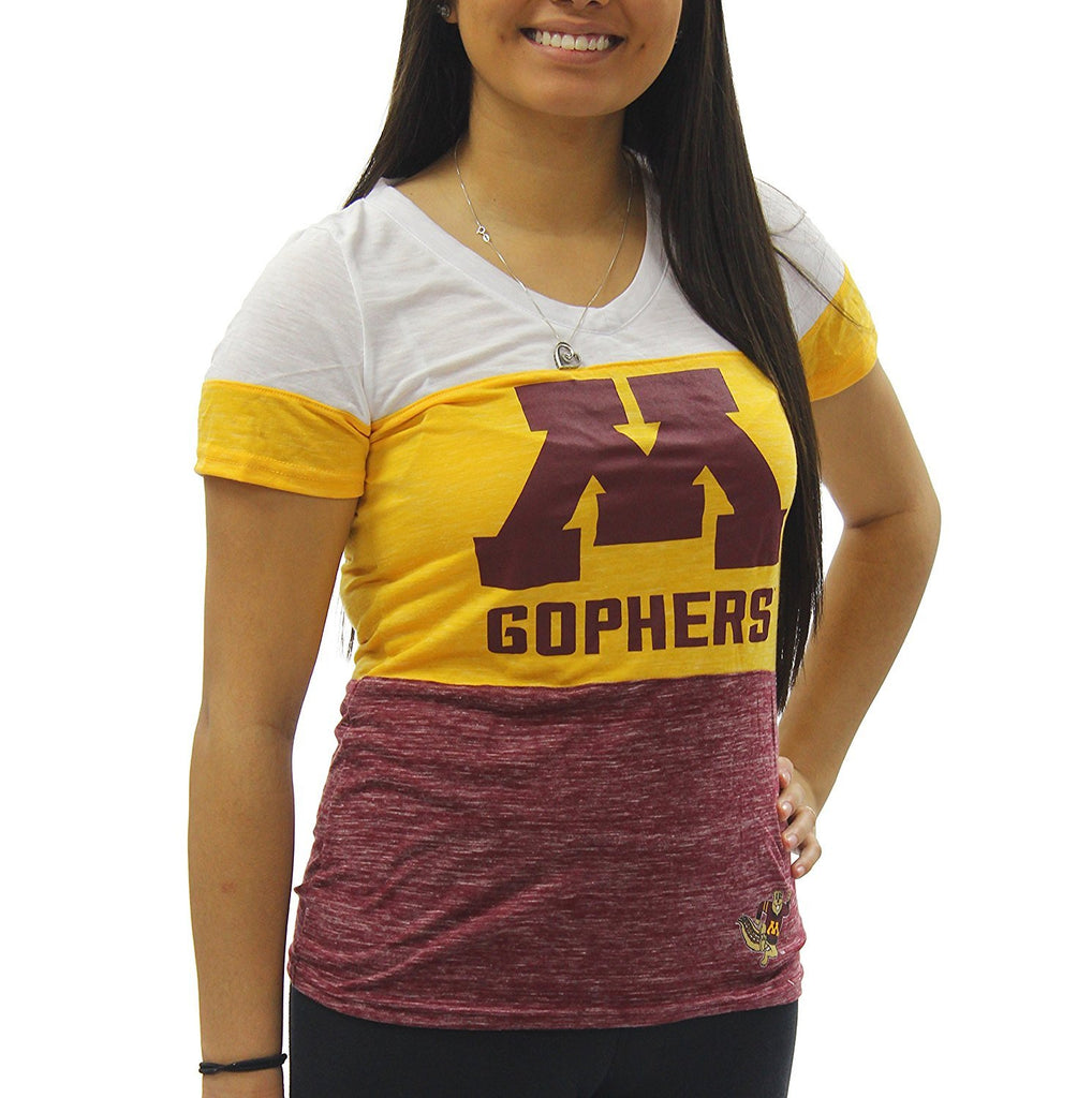 Creative Apparel Women's NCAA Minnesota Golden Gophers Tri Color T-Shirt Tee