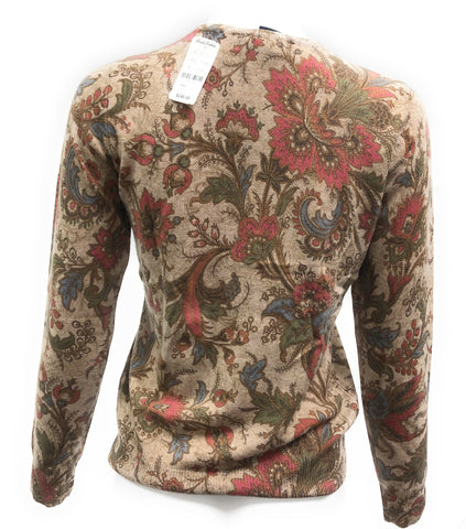 Brooks Brothers Tan Cashmere Paisley Floral Button Up Cardigan Sweater, S