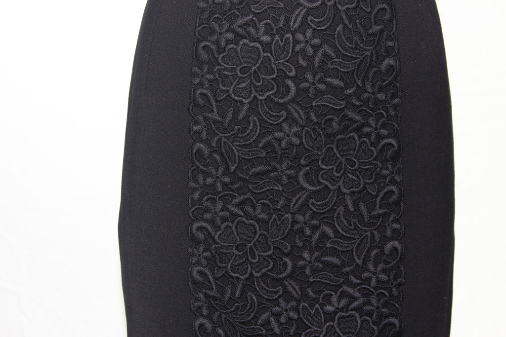 Dolce & Gabbana Wool Skirt Silk Lining Embroidered w/Flowers Made in Italy