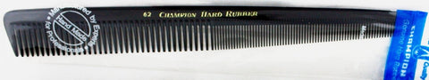 "Champion Professional Barber Comb # C 62 - 7 1/2"" Straight Back Fine Coarse Tooth Fine Teeth Sloped"