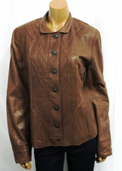 Womens ELIE TAHARI Paulina Leather Jacket Laser Cut Button Coat NWT$998