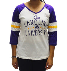 Pressbox Women' s University of East Carolina Pirates V Neck T Shirt