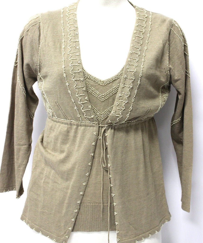 Womens 3 piece Sweater Set Vest Top Cardigan Max Studio, Size S/M