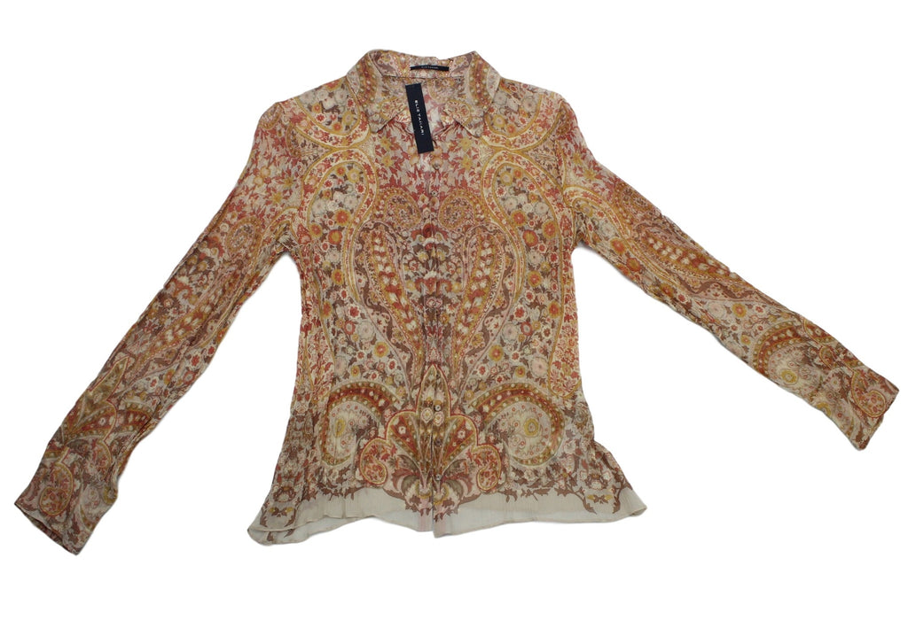Womens Ellie Tahari Long Sleeve Clover Shirt - Sandstone 100% Silk