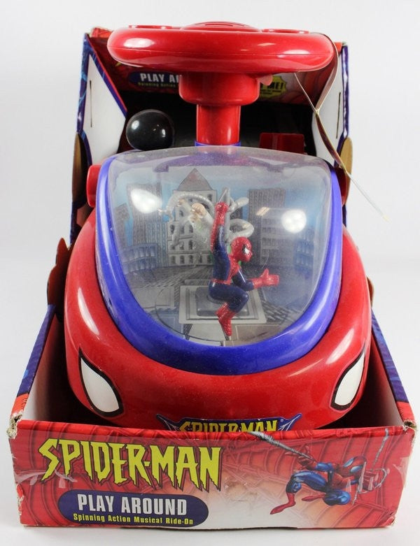 2003 Spider-Man Play Around Spinning Action Musical Ride On Walker Toy Ages 1 1/2+