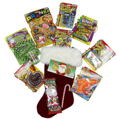 Holiday Jokes Gags & Prank Stocking Pre-filled Whoopee Cushion Doggy Poo Flarp Fake Lottery Tickets Nail thru finger Goofy Teeth for Boys 8 & up