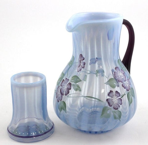 Fenton Art Glass Diamond Jubilee Collection Misty Blue Rib Optic 2-piece Guest