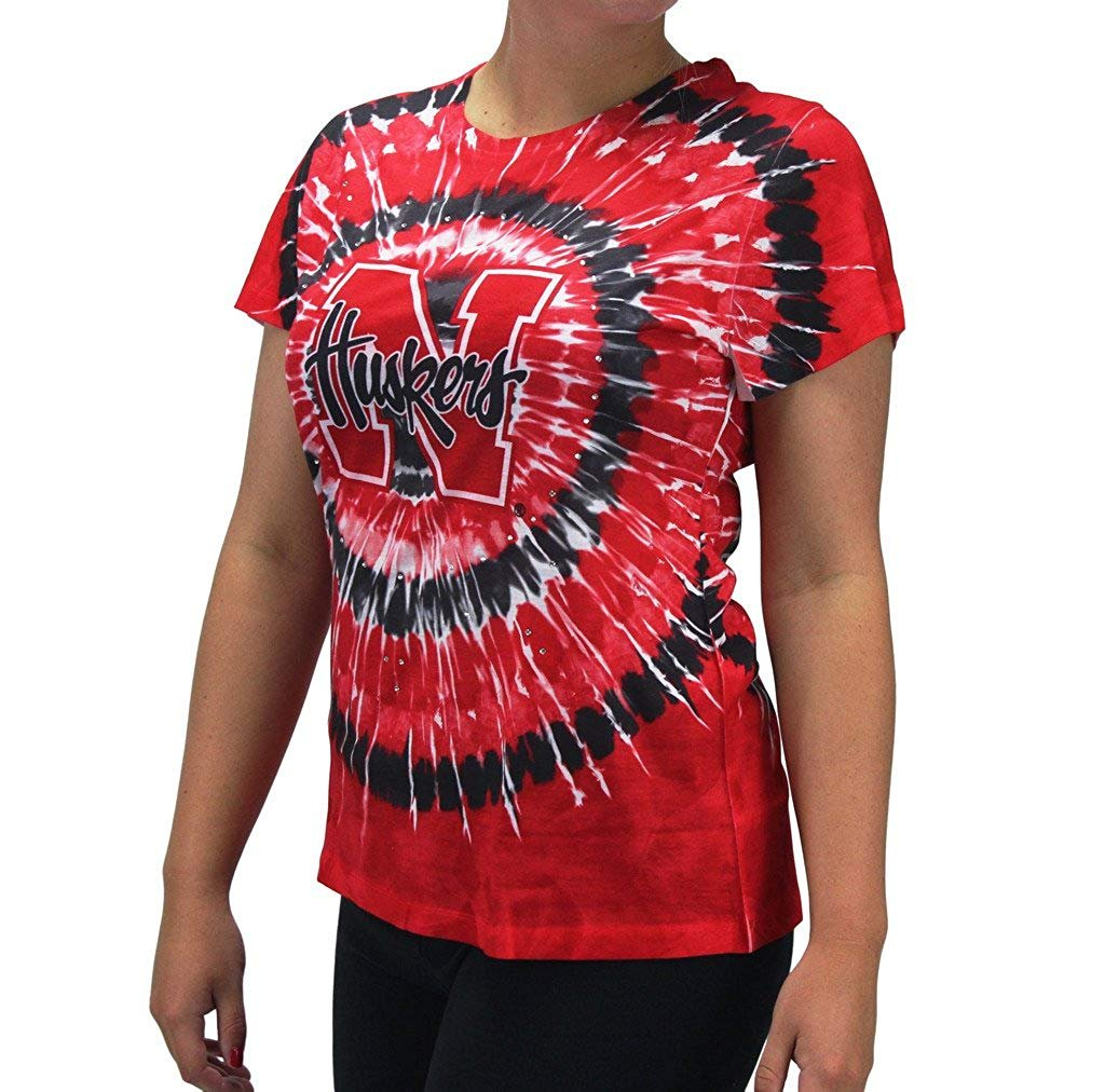 Women' s Nebraska NE Huskers Tie Dye Bling Gem Shirt