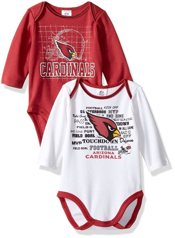 Infant Baby Arizona Cardinals Long Sleeve Bodysuit (2 Pack) 3-6 Months