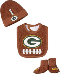 Infant Baby NFL Brown Football Cap, Bootie and Bib Set, Team Logo, 0-6 months