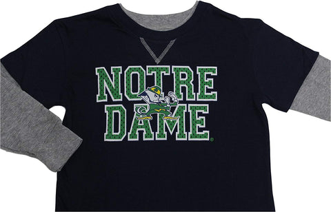 Genuine Stuff Boy's Notre Dame Fighting Irish Long Sleeve Faux Layer T Shirt