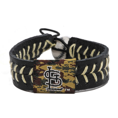 "Gamewear® St. Louis Cardinals Camouflage Baseball Leather Bracelet, 6-7"" One Size Fits Most"