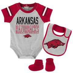 Arkansas Razorbacks Newborn & Infant Bodysuit, Bib & Booties, Heather Grey,