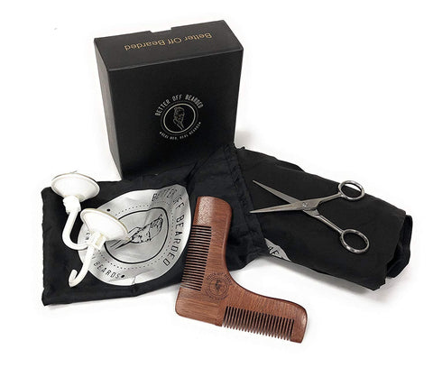 Grooming Shaving Kit for Men-Wooden Shaping Tool, Comb, Scissors, Cape