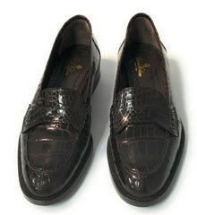 Brooks Brothers Women's Alligator Brown Leather Loafer Shoes Sz. 8