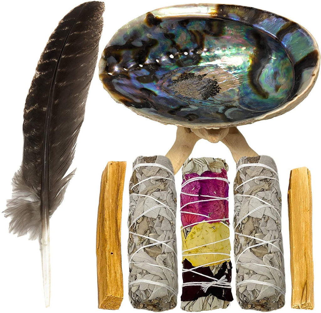 Smudge Kit With Abalone Shell White Sage Palo Santo Sticks Feather Spiritual Cleansing