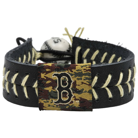 Boston Red Sox Camouflage Logo Leather Baseball Bracelet by Gamewear®