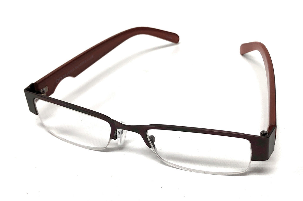Unisex Men Women Metal Coffee Semi-Rimless Reading Glasses Readers +