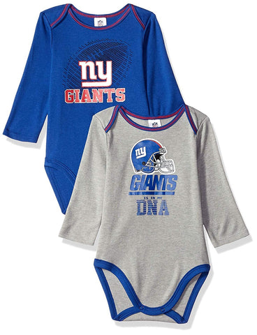 NFL 2 Pack Long Sleeve Bodysuit New York Giants- Blue/Grey 6-12Months
