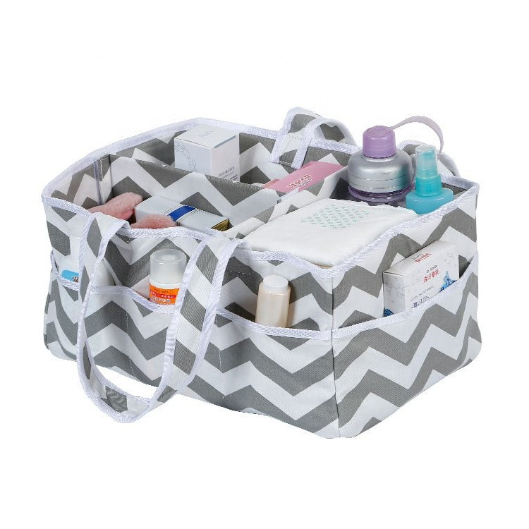Larkaby Baby Diaper Organizer Caddy, Grey White Chevron print